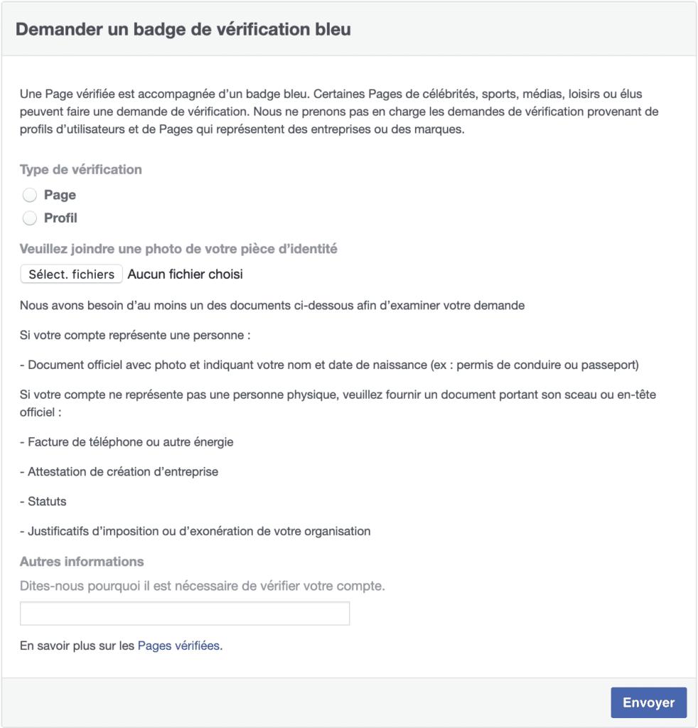 Formulaire pour vérifier sa page Facebook